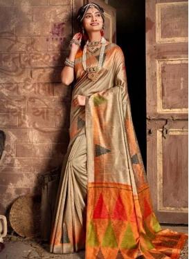 Beige and Orange Woven Work Traditional Designer Saree
