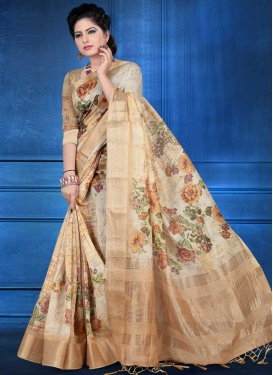 Beige and Peach Digital Print Work Contemporary Style Saree