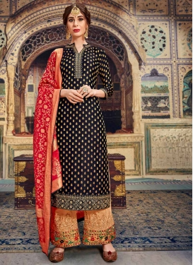 Beige and Peach Palazzo Style Pakistani Salwar Kameez For Ceremonial
