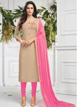 Beige and Pink Churidar Salwar Kameez