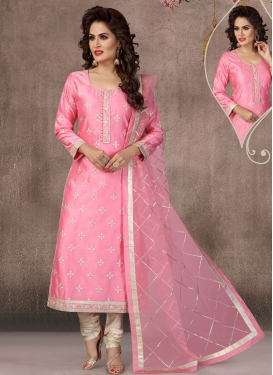 Beige and Pink Embroidered Work Readymade Long Length Suit