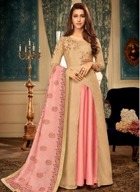 Beige and Pink Readymade Gown