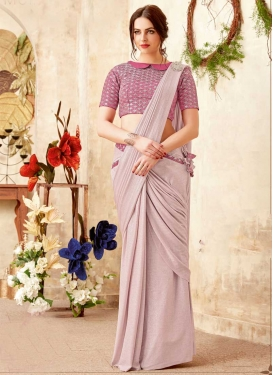 Beige and Pink Traditional Designer Saree