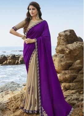 Beige and Purple Designer Half N Half Saree