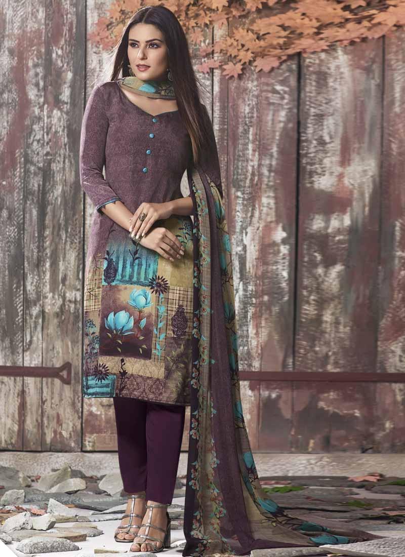Beige and Purple Digital Print Work Pant Style Designer Salwar Kameez
