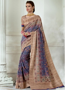 Beige and Purple Print Work Trendy Classic Saree