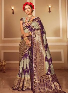Beige and Purple Woven Work Designer Contemporary Style Saree