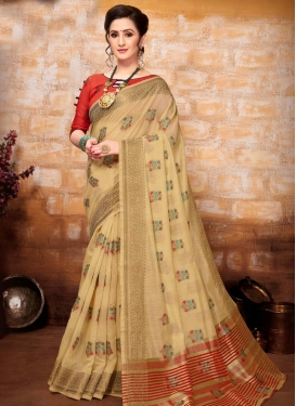 Beige and Red Art Silk Designer Contemporary Style Saree