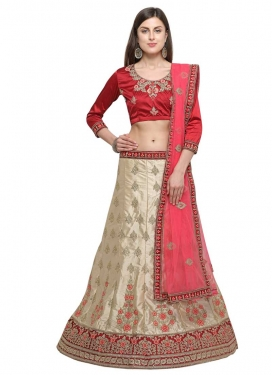 Beige and Red Booti Work A Line Lehenga Choli