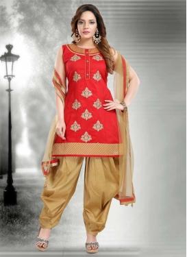 Beige and Red Booti Work Readymade Designer Salwar Suit