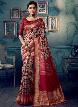 Beige and Red Classic Saree