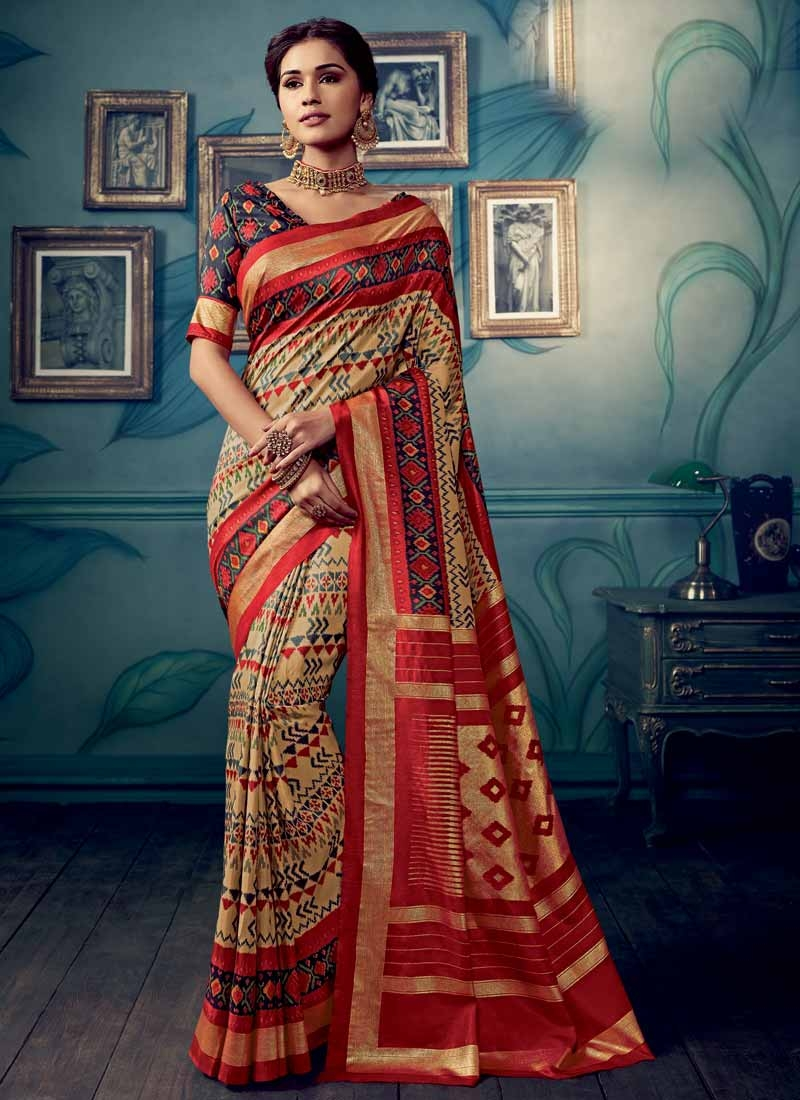 Beige and Red Contemporary Style Saree For Casual