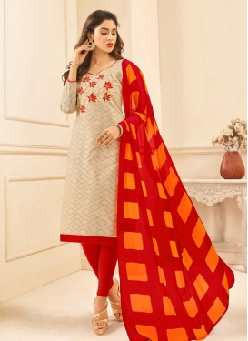 Beige and Red Cotton Churidar Suit