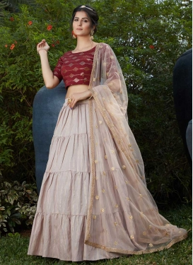 Beige and Red Cotton Designer A Line Lehenga Choli