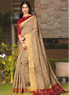 Beige and Red Cotton Silk Designer Contemporary Saree