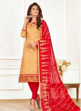 Beige and Red Cotton Trendy Churidar Salwar Suit