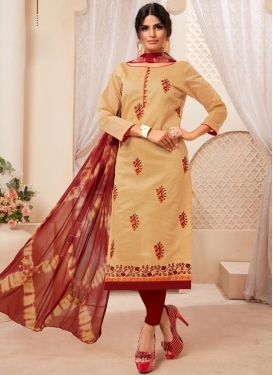 Beige and Red Cotton Trendy Straight Salwar Suit