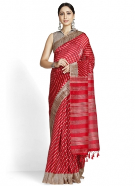 Beige and Red Designer Contemporary Style Saree