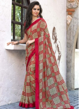 Beige and Red Designer Contemporary Style Saree For Casual