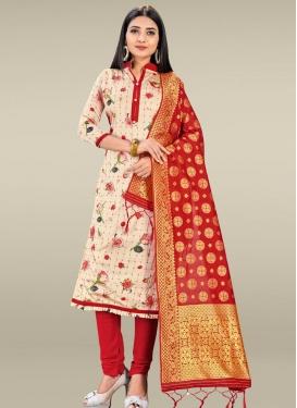 Beige and Red Digital Print Work Trendy Churidar Salwar Suit