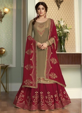 Beige and Red Embroidered Work Kameez Style Lehenga Choli