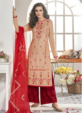 Beige and Red Embroidered Work Readymade Salwar Suit