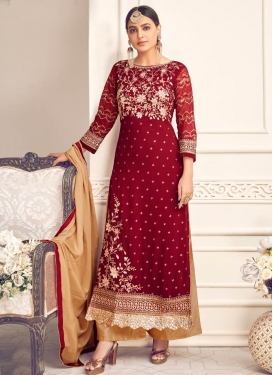 Beige and Red Faux Georgette Palazzo Style Pakistani Salwar Suit