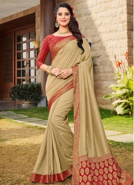 Beige and Red Lace Work Designer Contemporary Saree