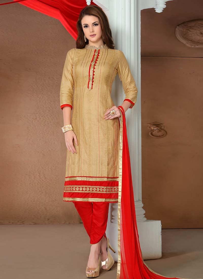 Beige and Red Lace Work Pant Style Designer Salwar Kameez