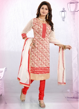 Beige and Red Lace Work Readymade Churidar Suit