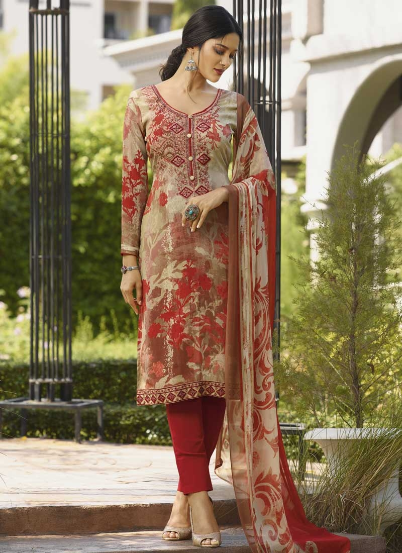 Beige and Red Pant Style Pakistani Salwar Kameez For Ceremonial