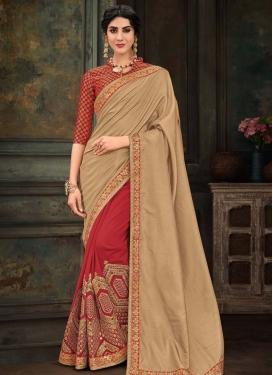 Beige and Red Poly Silk Half N Half Designer Saree For Ceremonial