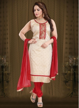 Beige and Red Readymade Churidar Suit For Festival