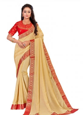 Beige and Red Traditional Designer Saree For Casual