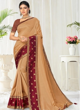 Beige and Red Trendy Classic Saree