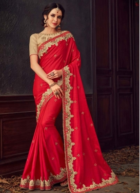 Beige and Red Trendy Classic Saree For Ceremonial