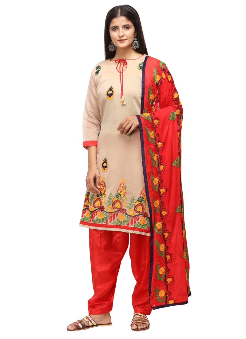 Beige and Red Trendy Straight Salwar Kameez