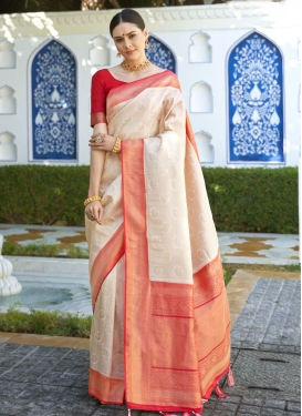 Beige and Red Woven Work Contemporary Style Saree