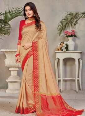 Beige and Red Woven Work Designer Contemporary Saree