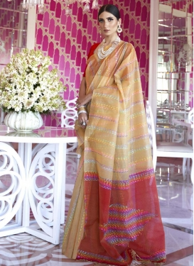 Beige and Red Woven Work Designer Contemporary Style Saree