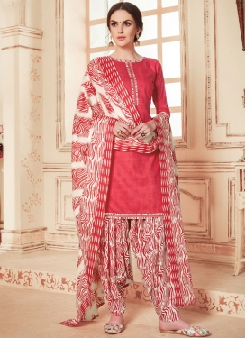 Beige and Rose Pink Abstract Print Work Semi Patiala Salwar Suit