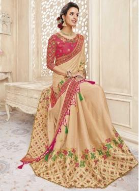 Beige and Rose Pink Chanderi Silk Designer Contemporary Saree