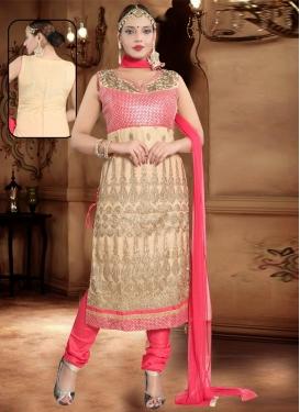 Beige and Rose Pink Net Readymade Churidar Salwar Kameez For Ceremonial