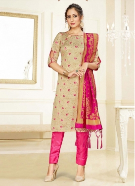 Beige and Rose Pink Pant Style Classic Salwar Suit