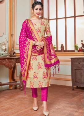 Beige and Rose Pink Pant Style Salwar Kameez