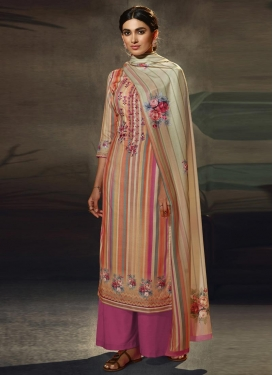 Beige and Rose Pink Pasmina Palazzo Style Pakistani Salwar Kameez