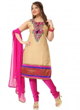 Beige and Rose Pink Readymade Churidar Salwar Suit