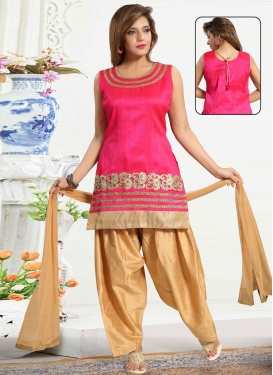 Beige and Rose Pink Readymade Suit