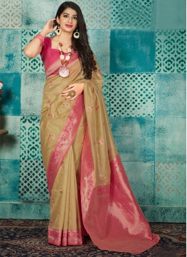 Beige and Rose Pink Thread Work Contemporary Style Saree
