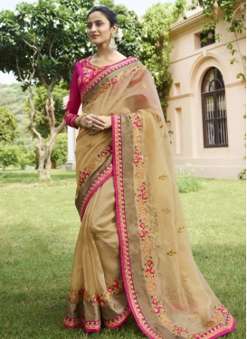 Beige and Rose Pink Trendy Saree For Festival